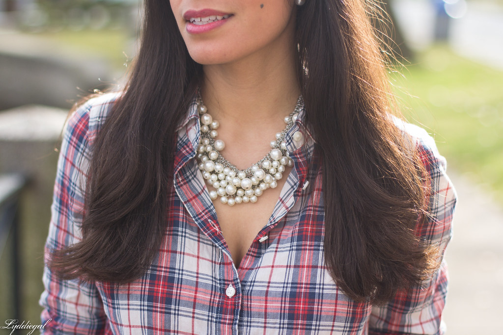 plaid shirt, pearl necklace black midi skirt, red pumps-4.jpg