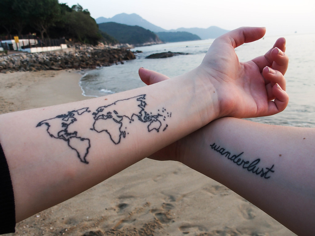 travel map tattoo