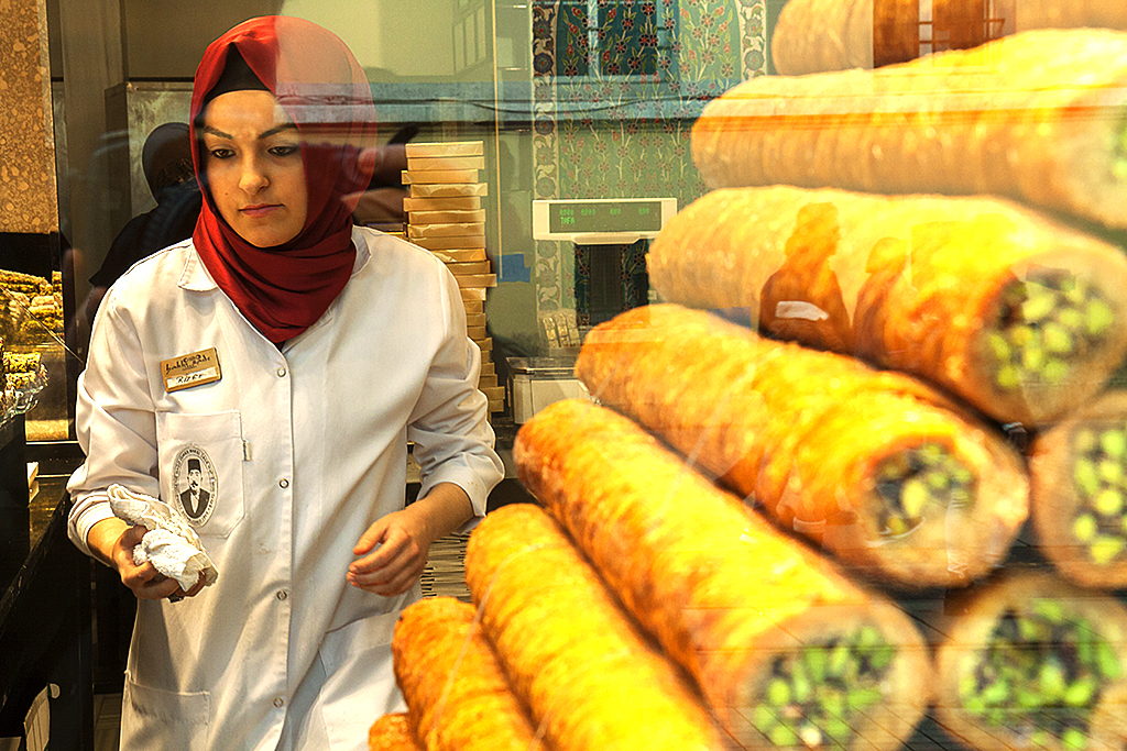 Girl in pastry shop--Istanbul