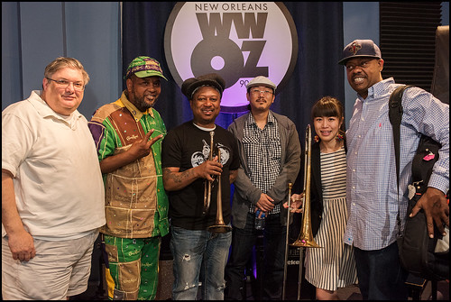 WWOZ's Michael Dominici and Action Jackson with Kermit Ruffins and the BBQ Swingers. Photo by Ryan Hodgson-Rigsbee www.rhrphoto.com