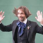 Cédric Villani poses for the press | Cédric Villani poses for the press on the green carpet at the Edinburgh International Book Festival © Alan McCredie