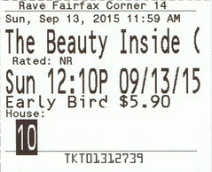 The Beauty Inside ticketstub