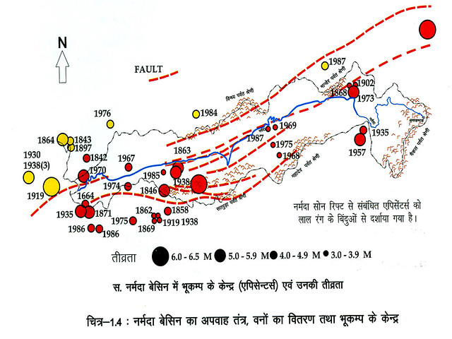 नर्मदा बेसिन में भूकम्प के केन्द्र
