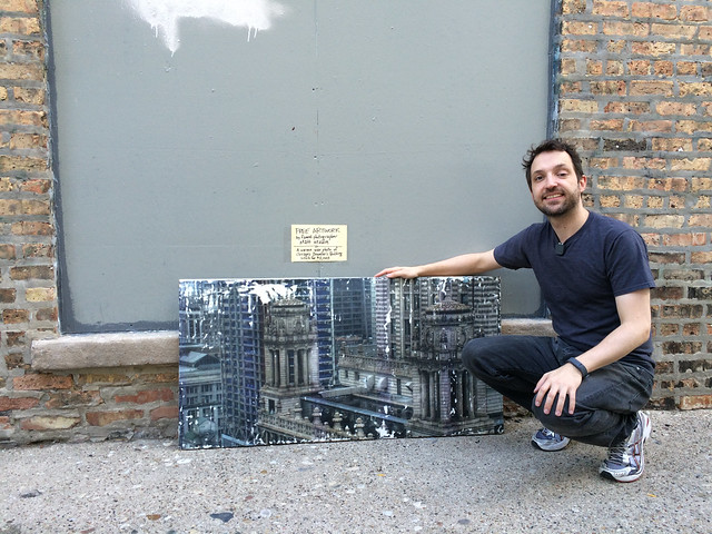 Me standing by my four-foot long wax photo of the Jeweler's Building