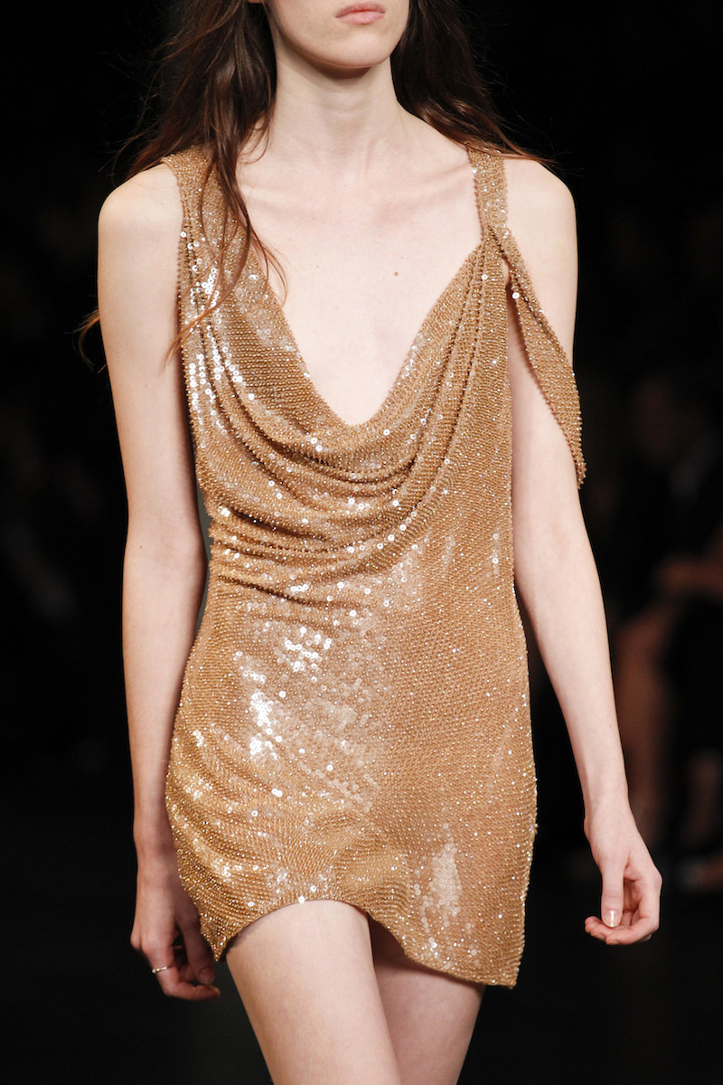 SAINT LAURENT SS16 sequin tan mini naked dress minimal 90s MODERN LEGACY