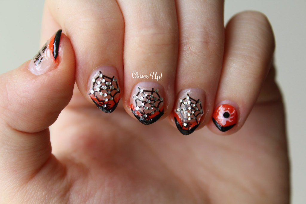 Halloween french manicure spider nail art