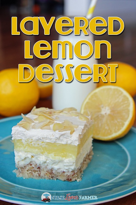 Layered Lemon Dessert. This layered lemon dessert has 4 delicious layers that is always a crowd-pleaser and great for a potluck dessert. A pecan-butter-flour crust with cream cheese and then lemon pie layers topped with light whipping cream and sliced almonds!