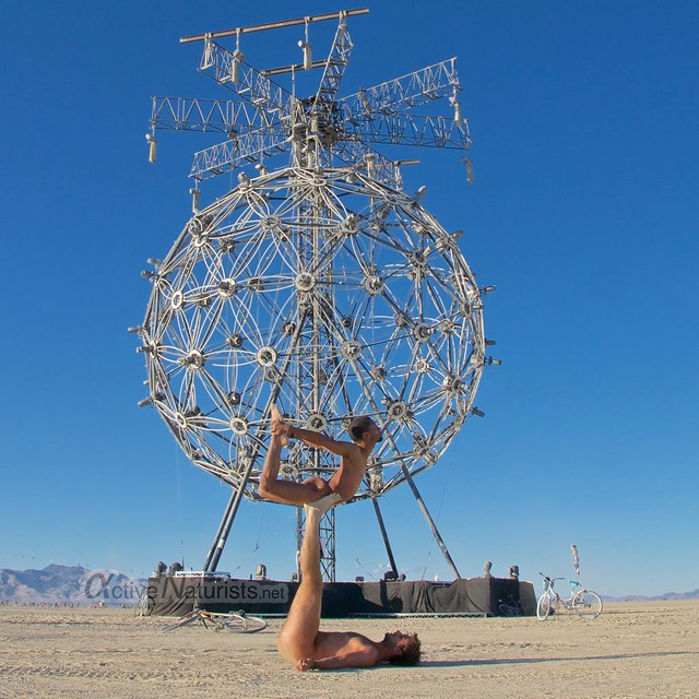 naturist acro-yoga gymnasium 0003 Burning Man 2015, Black Rock City, Nevada, USA