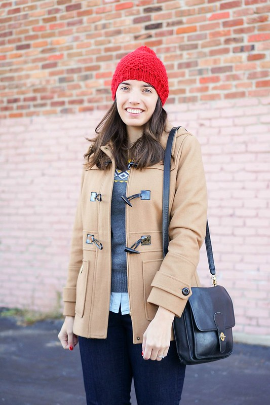 Merona Target fair isle sweater, red pom hat, Loft jeans, toggle coat, J.Crew horse loafers