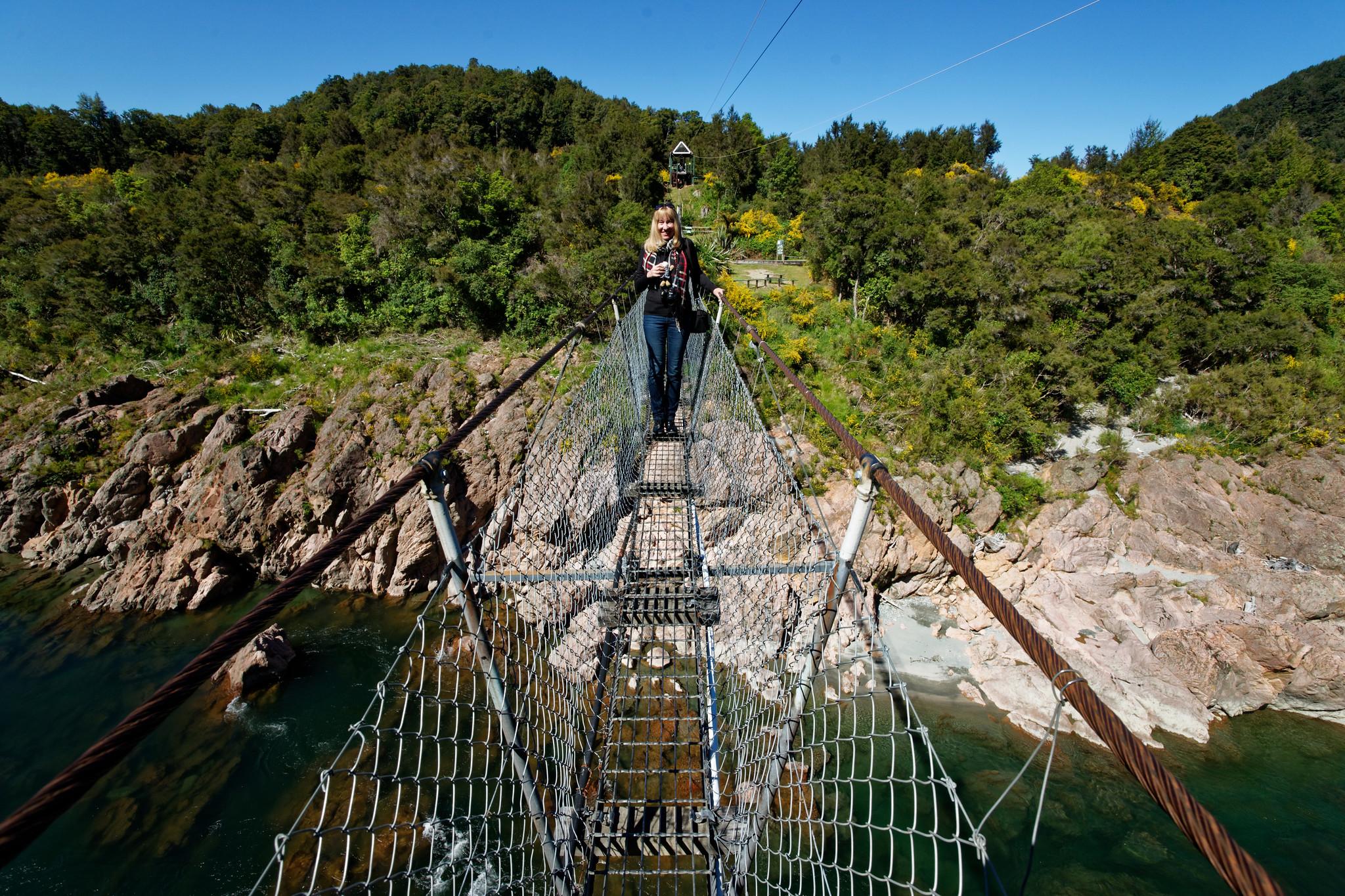 Cynthia Crosses The Buller Gorge Swingbridge