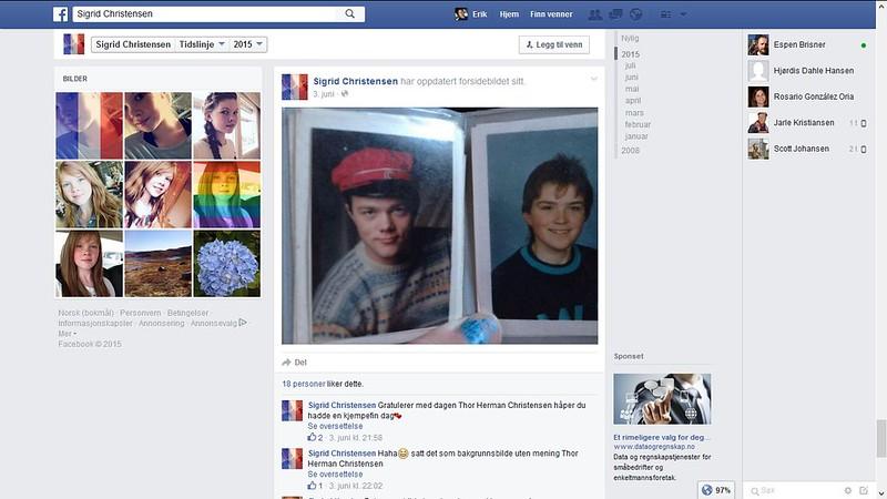herman som russ på datterens facebook side