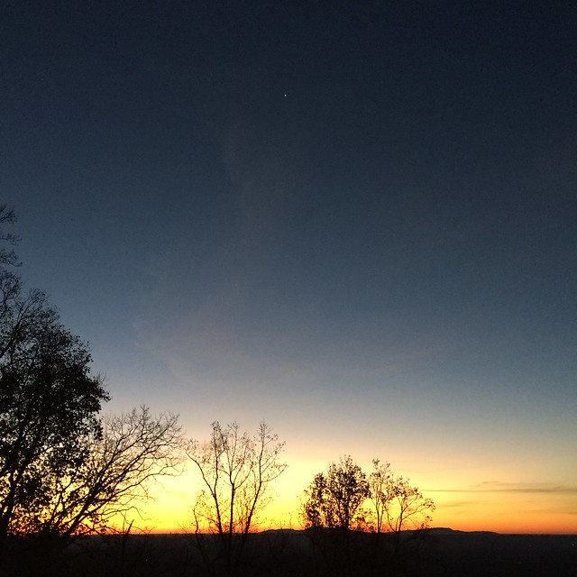 Mountain moonrise, Morning star views