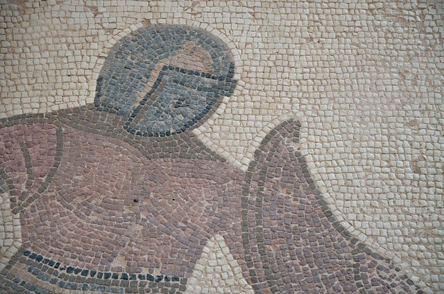 Detail mosaic depicting two gladiators in combat, his in Greek is listed above: Margarites, late-3rd century AD, House of the Gladiators, Kourion, Cyprus