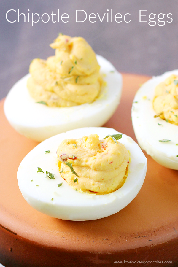 Chipotle Deviled Eggs on a plate.