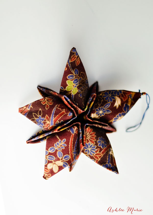 details from this origami fabric star