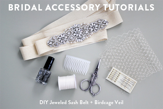 Birdcage Veil Bridal Jeweled Sash Belt Wedding DIY Tutorials
