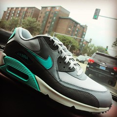 Just picked these Air Max 90's up from the new Nike Factory Store on New York Ave in NE DC for 39$. Tons of deal in that store! Go check it out.. #nike #airmax #TinkerHatfield #doitbig #designer #swag #style #streetwear #running #shoegame #lovewhatyoudo #