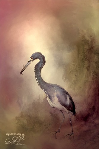 Image of a Great Blue Heron painted