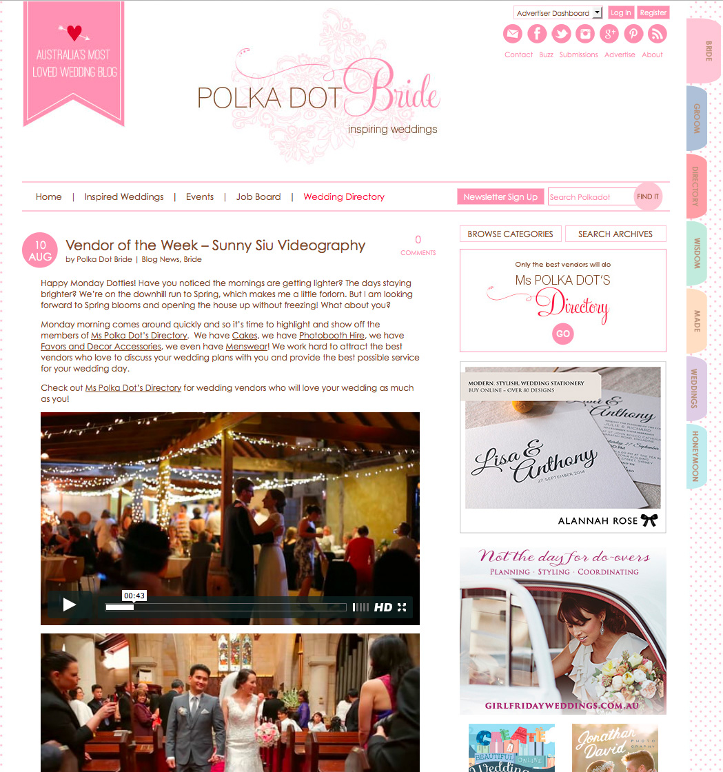 Polka Dot Bride - feature Sunny Siu a Sydney based wedding videographer