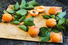 Apricot twigs with fruits and apricots on a wooden…