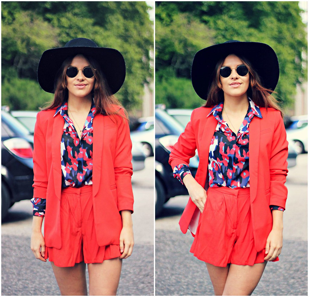 ASOS red shorts suit The Little Magpie 7