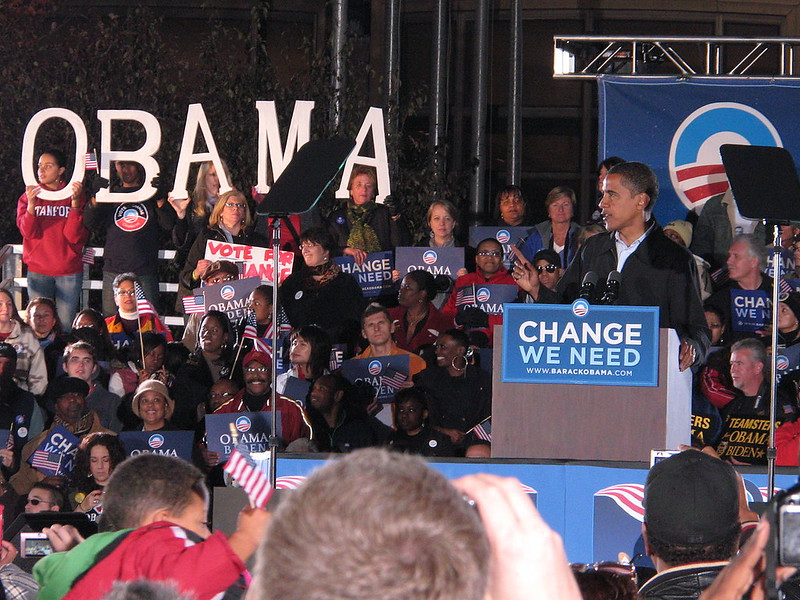 Barack Obama speaks at a rally featuring Bruce Springsteen in Cleveland, Ohio