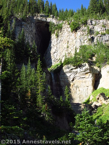 The cave and waterfall that separates Lower Darby Canyon from Upper Darby Canyon, Jedidiah Smith Wilderness Area,