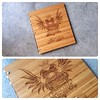 Custom tattoo portfolio book in caramel bamboo with engraving treatment