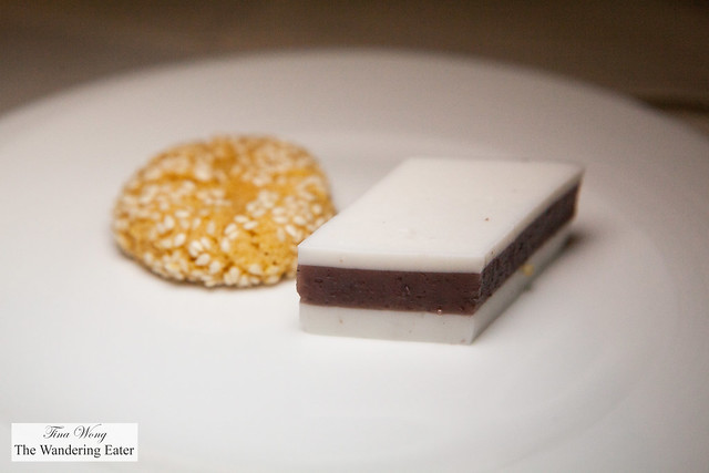 Petit fours - Coconut red bean jellies and sesame cookies