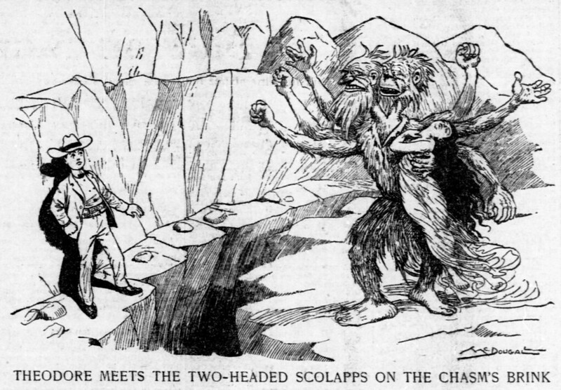 Walt McDougall - The Salt Lake herald., July 06, 1902, Theodore Meets The Two-Headed Scolapps On The Chasm's Brink