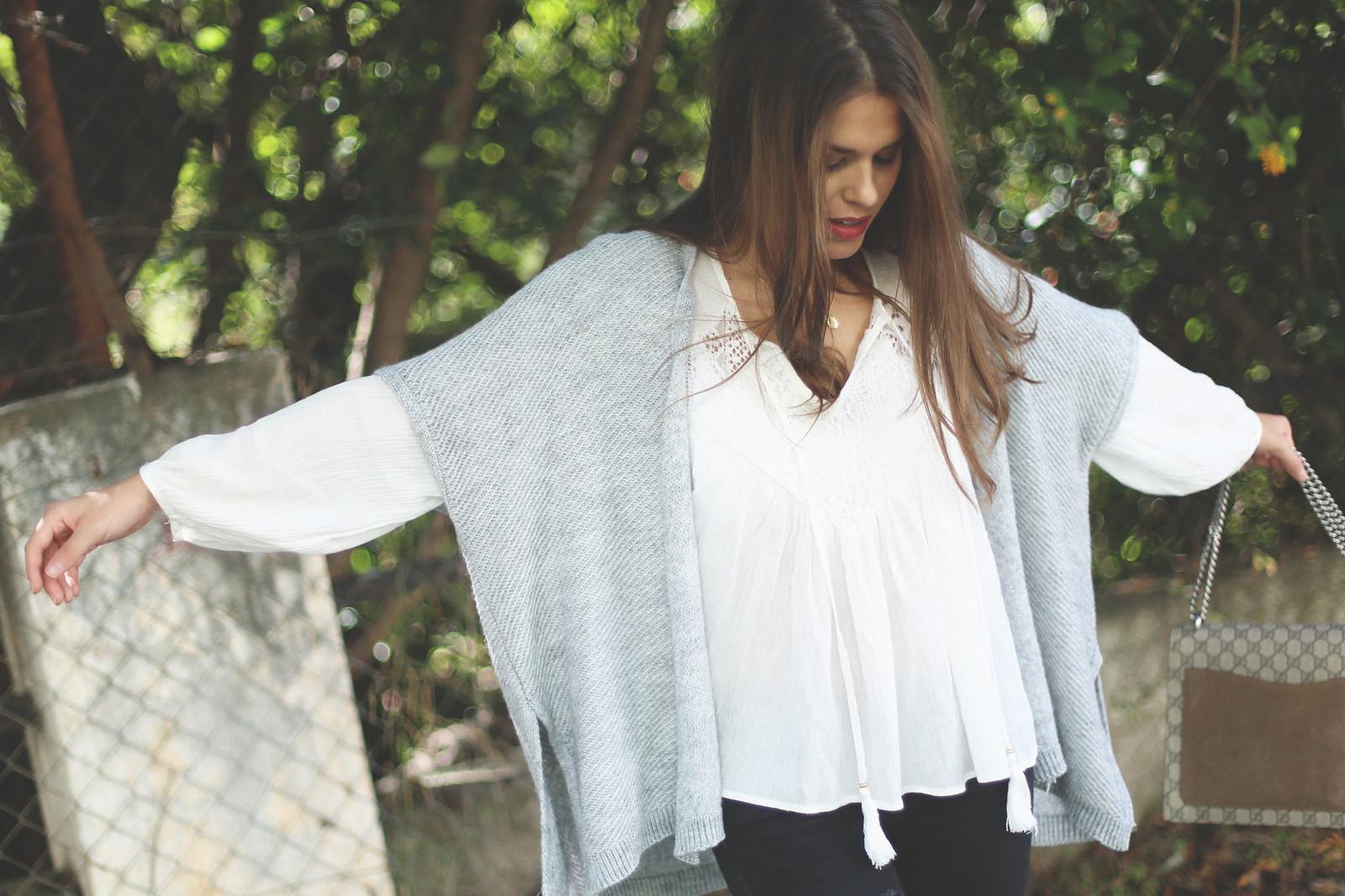 2. jessie chanes - grey poncho white boho blouse