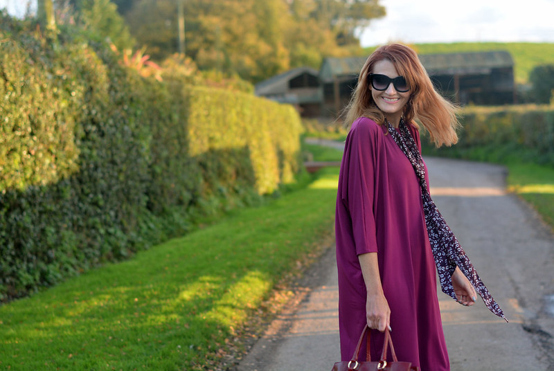 Magenta cocoon dress, floral neck scarf | Not Dressed As Lamb