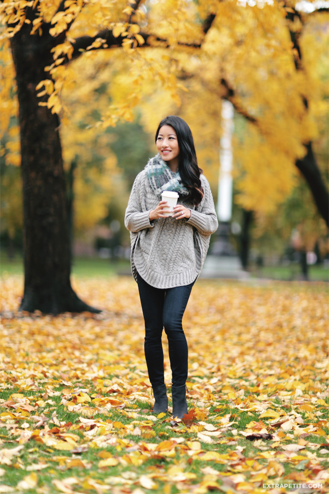 poncho sweater scarf fall outfit