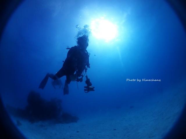 竹富ブルーの中、のんびりまったり遊泳中のきょうちゃん♪