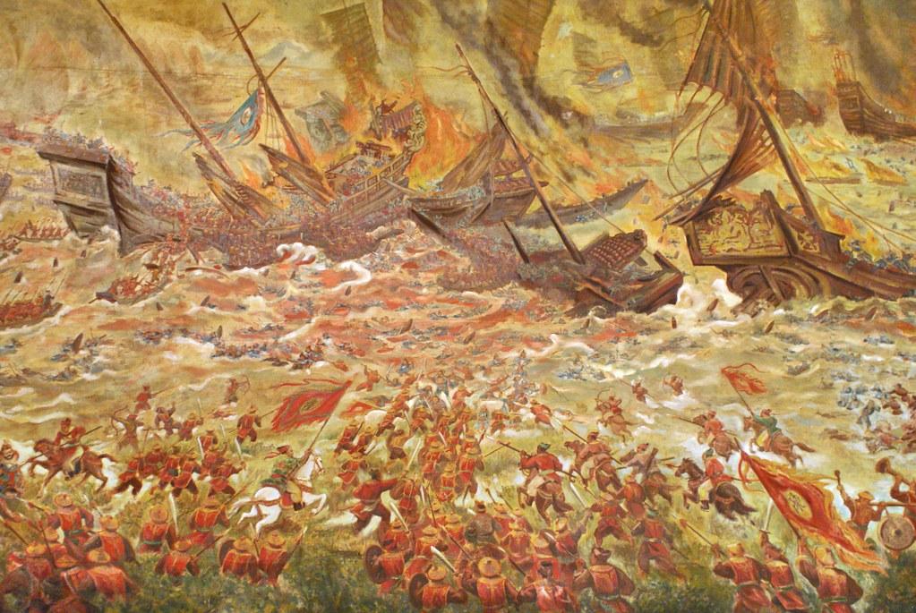 Une autre spectaculaire bataille navale présente au musée d'histoire du Vietnam à Hanoi.