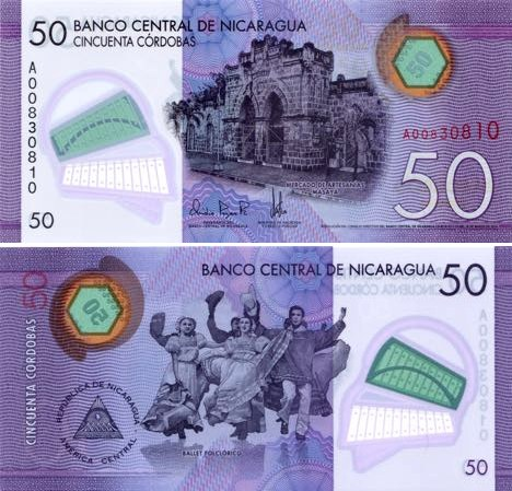 50 Córdobas Nikaragua 2015, polymer