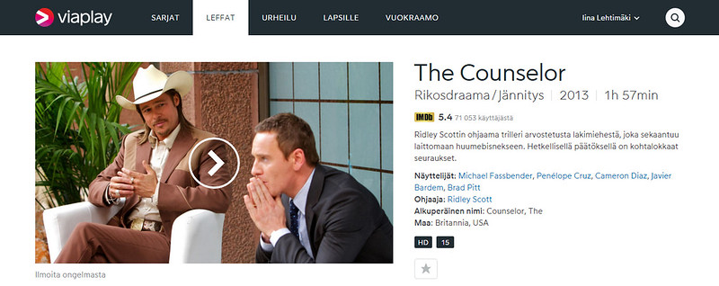 Katso The Counselor. Elokuvat netissä - Viaplay.fi - Google Chrome 30.11.2015 95736.bmp