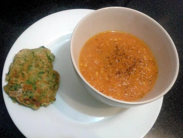 Sopa de Tomate e Cenoura com Panqueca de Espinafre