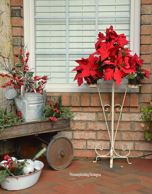 Christmas 2015 Front Porch/Vintage Plant stand - Housepitality Designs
