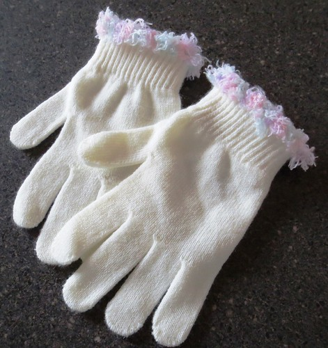 Fun Fur Trimmed Gloves