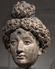 Terracotta head of a Bodhisattva with inlaid garnet eyes (2)