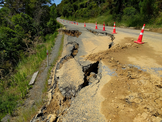 earthquake damage to Queen Charlotte Drive