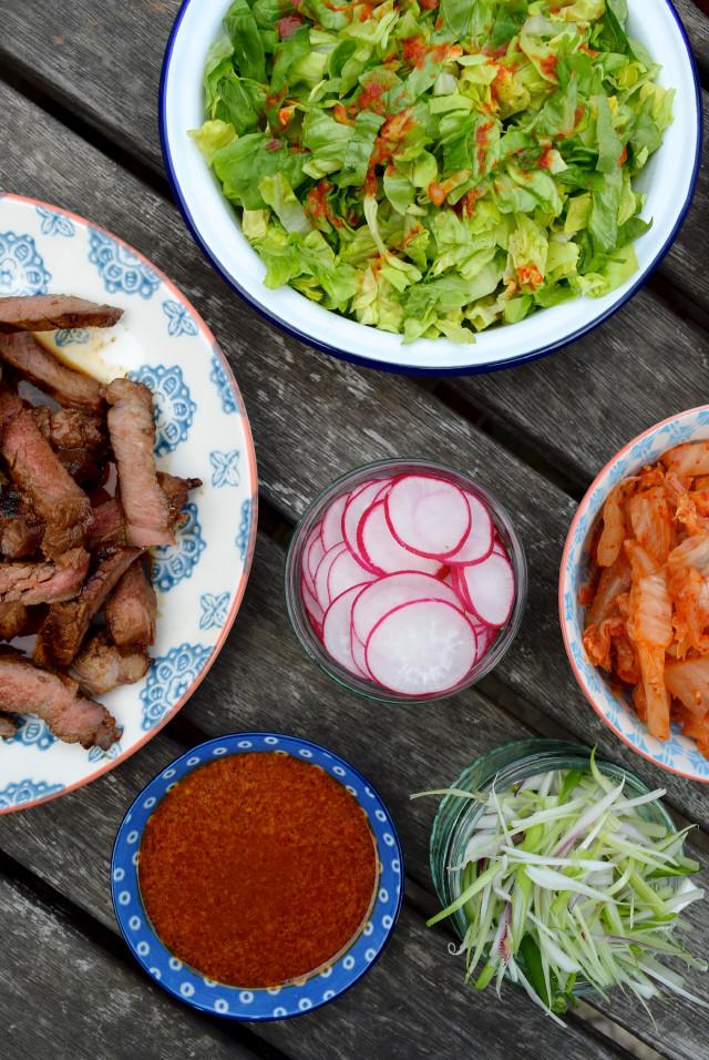 Korean Barbecue Steak Strip Tacos