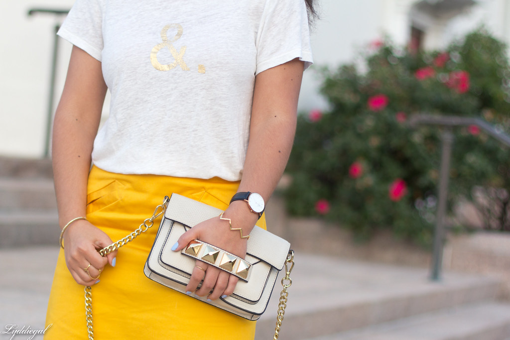 ampersand tee, yellow pencil skirt, studded bag-3.jpg