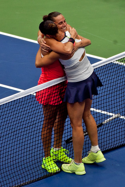 US Open friends hug Italy