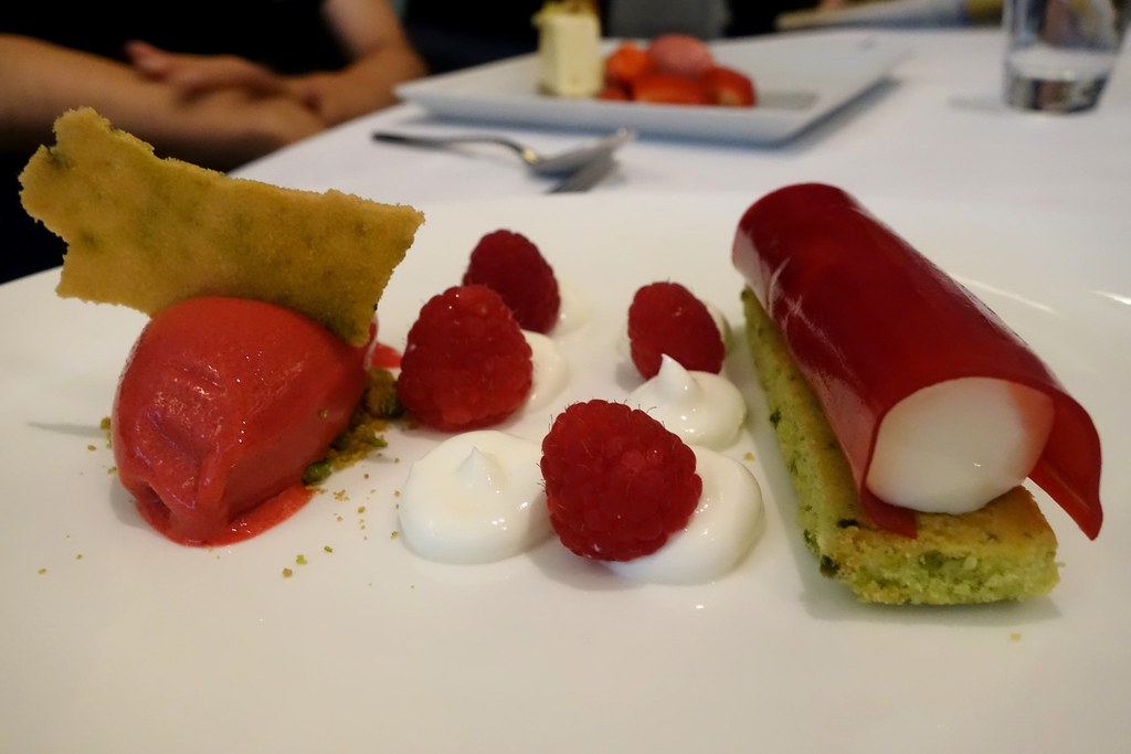 Raspberry and Pistachio Panncotta, Oxo Tower Restaurant, London
