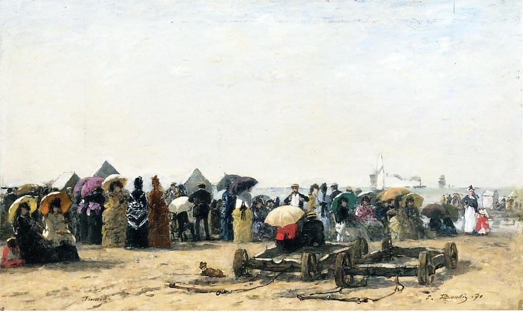 Beach Scene at Trouville by Eugène-Louis Boudin - 1870