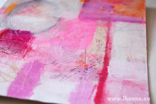 Detail 1 of Collage Painting in pink by iHanna