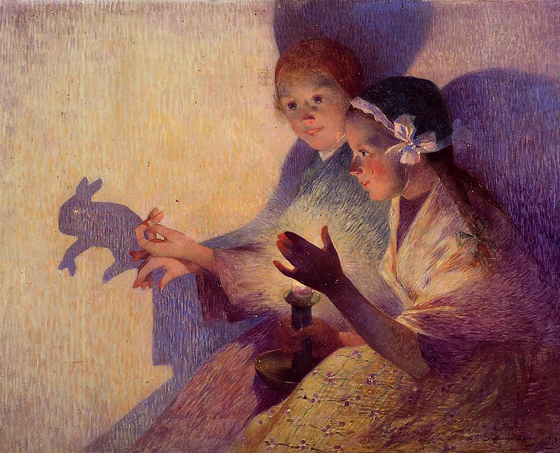 """Playing Chinese Shadow Rabbits"" 1895 Ferdinand du Puigaudeau"