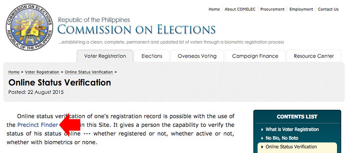how to verify voters status online step 3